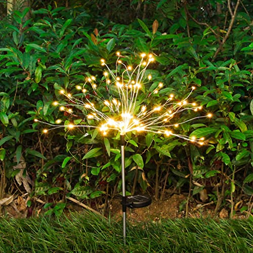 Solar Lights Outdoor Decorative Firework Lights LED Copper Starburst String Lights, Solar String Lights with 2 Lighting Modes Suitable for Garden, Patio, Yard, Flowerbed, Parties – WarmWhite