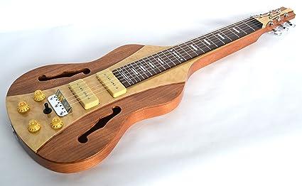 CLEARWATER - Guitarra de Palanca de Acero Inoxidable con Acabado Natural y mapas Acolchados