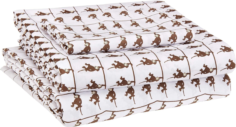 AmazonBasics Kid's Sheet Set - Soft, Easy-Wash Microfiber - Twin, Brown Monkeys