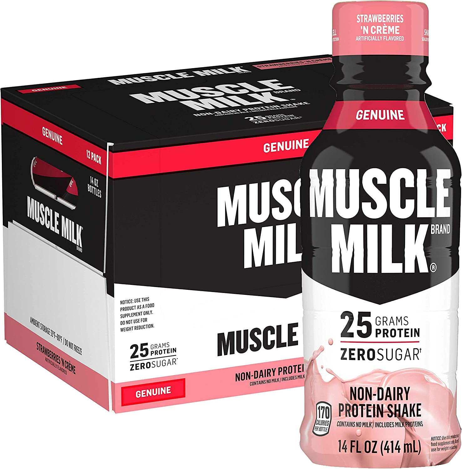 Muscle Milk Genuine Protein Shake, Strawberries 'N Crème, 25g Protein, 14 Fl Oz, 12 Pack: Health & Personal Care