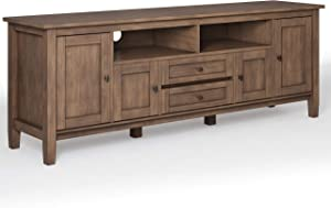 SIMPLIHOME Warm Shaker SOLID WOOD Universal TV Media Stand, 72 inch Wide, Farmhouse Rustic, Storage Shelves and Cabinets for Flat Screen TVs up to 80 inches, in Rustic Natural Aged Brown