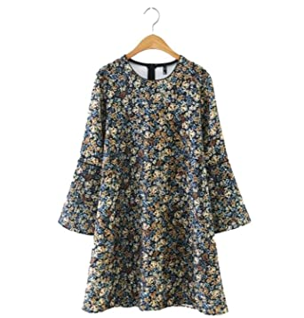 FDFAF Sexy Women vintage floral print dress flare sleeve o neck loose European retro mini dresses