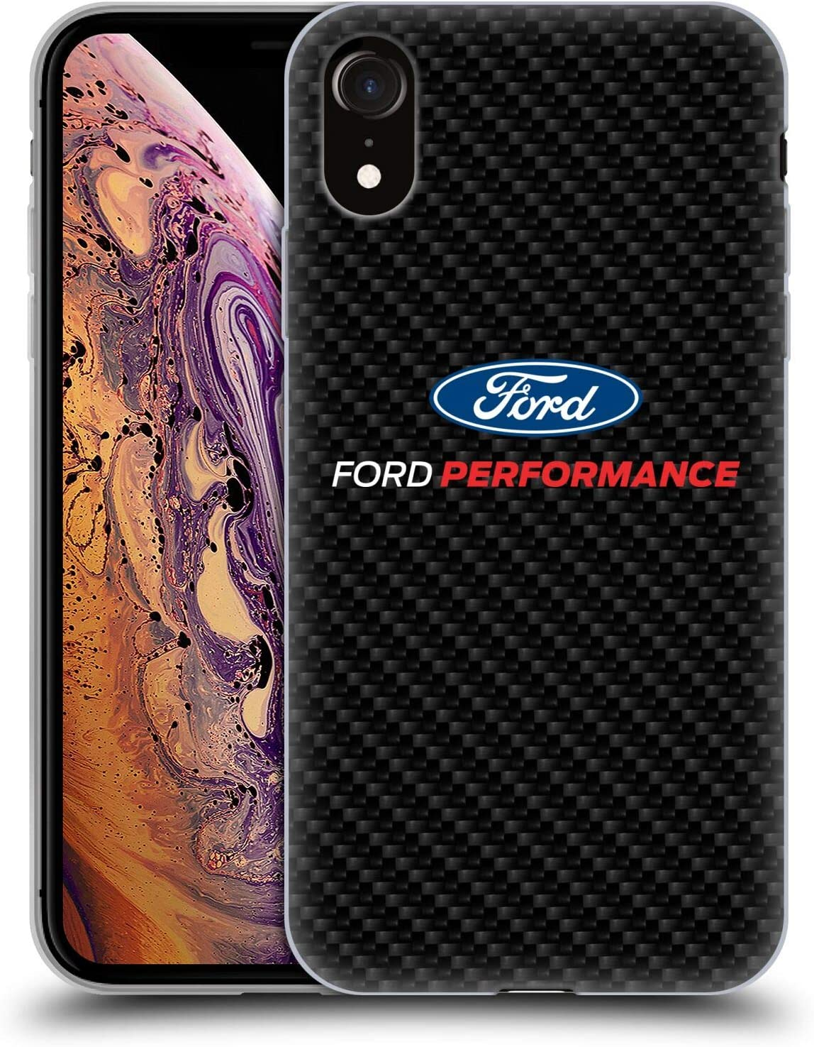Head Case Designs Officially Licensed Ford Motor Company Performance Carbon Fiber Logos Soft Gel Case Compatible with Apple iPhone XR
