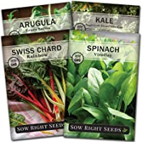 Sow Right Seeds - Power Greens Seed Collection for Planting - Viroflay Spinach, Arugula, Dwarf Siberian Kale, and…