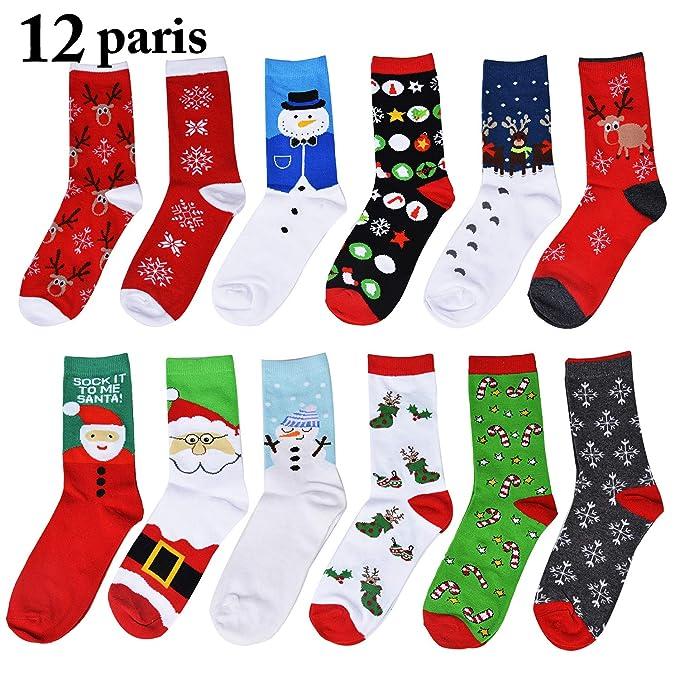Fascigirl 12 pares de calcetines de navidad Santa Deer Snow Flake Snowman Pattern Algodón para mujeres: Amazon.es: Ropa y accesorios