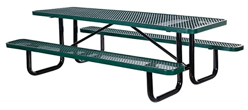 Vestil PT-MX-3096-GN Metal Rectangle Picnic Table, 96 Length, Green