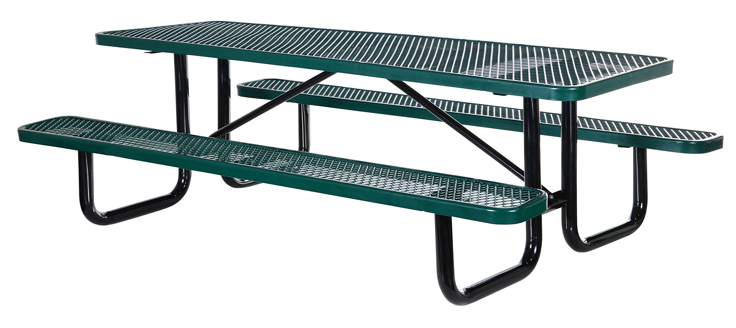 Vestil PT-MX-3072-GN Metal Rectangle Picnic Table, 72'' Length, Green