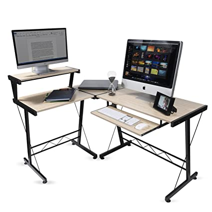 Marvelous Modern Design Durable L Shape Computer Desk Workstation For Office Home Office Dorm Room Natural Birch Color With Black Frame Download Free Architecture Designs Scobabritishbridgeorg