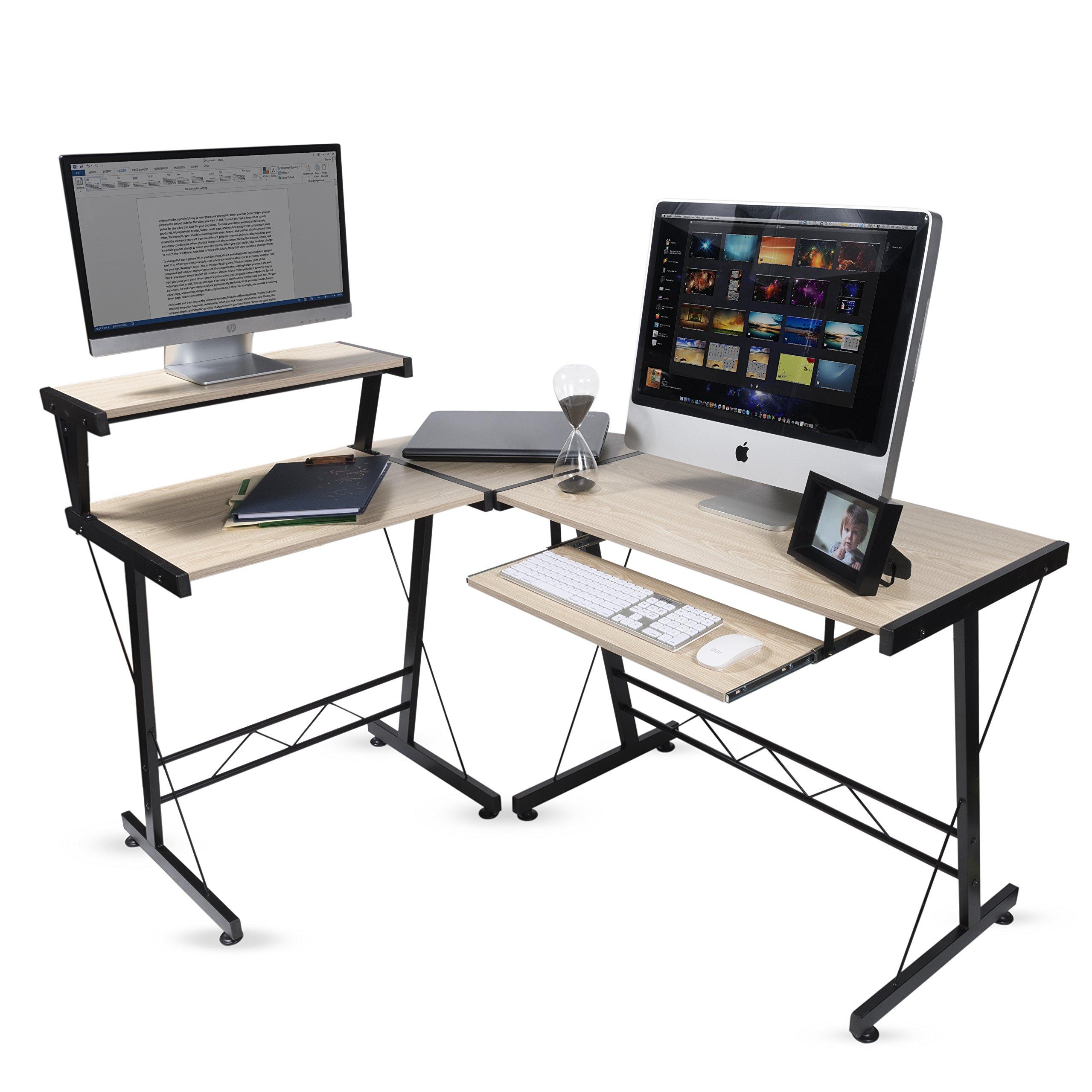 Modern Design Durable L Shape Computer Desk Workstation for Office , Home Office , Dorm Room , Natural Birch Color with Black Frame