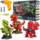 IPHUNGO 3 Pack Take Apart Dinosaur Toys for Kids, STEM Learning Toy Set with Electric Drill, Best Birthday Gifts for Boys and