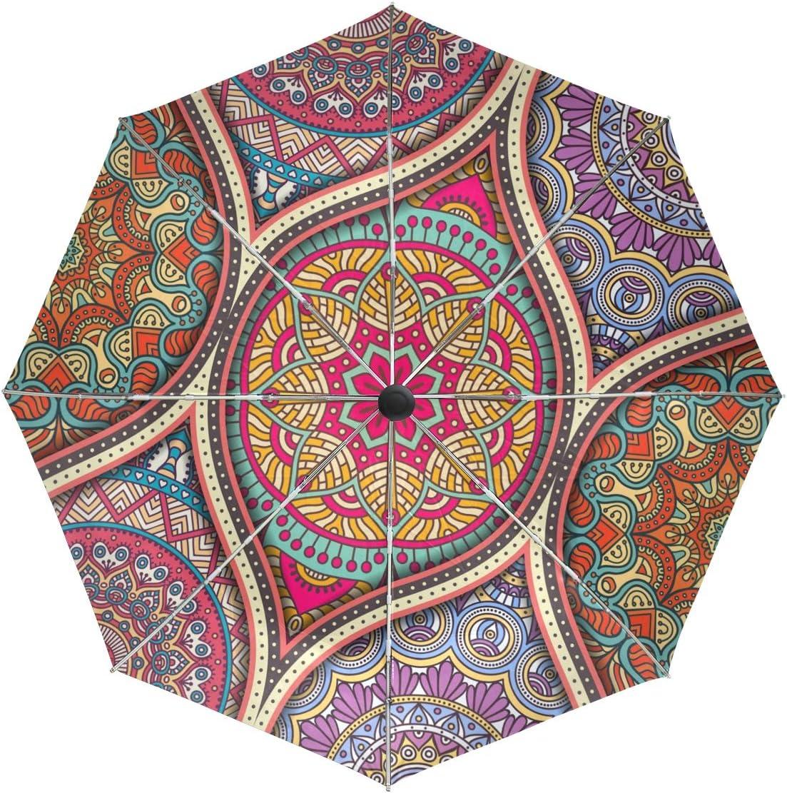 Bohemian Hedgehog Galaxy Sun/&Rain Automatic Umbrella Windproof Travel UV