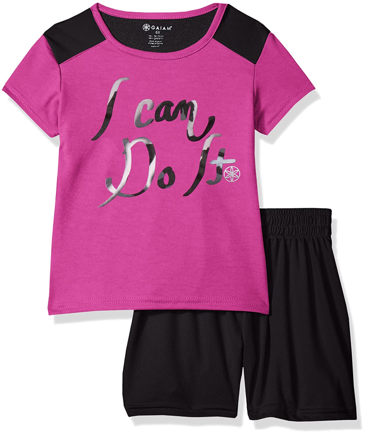 Gaiam Girls' I Can Sleeve Top and Mesh Short Set