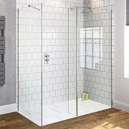1000 x 800 mm mojado moderna sala de ducha mampara de cristal caja + Panel de retorno: iBathUK: Amazon.es: Hogar