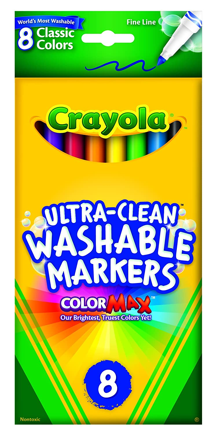 Classic Colors Crayola 8 Pack Ultra-Clean Fine Line Washable Markers