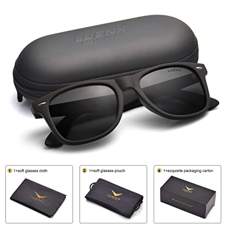 6a8878a1ae Mens Polarized Sunglasses for Womens UV 400 Protection Black Lens Matte  Black Frame 54MM