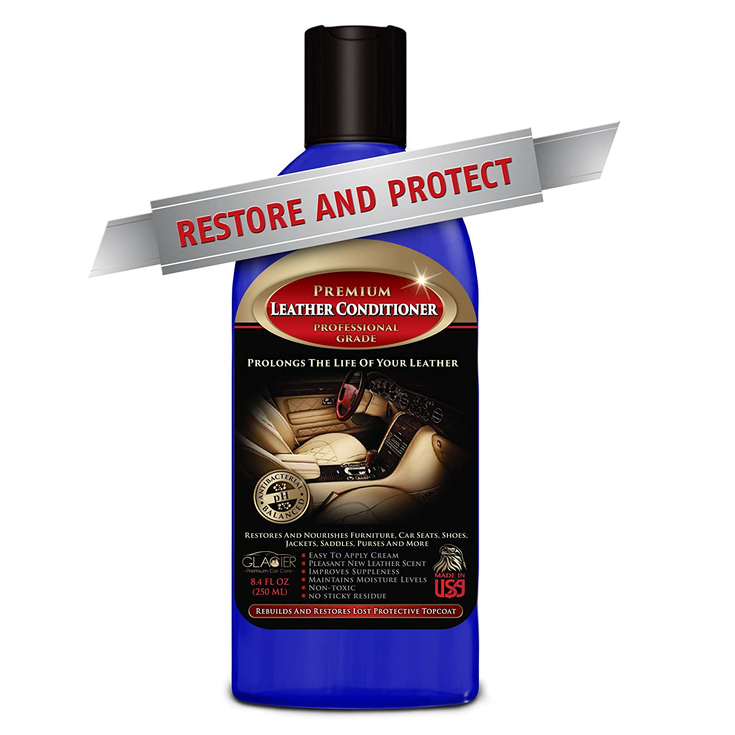 Leather jacket cleaner and conditioner - Amazon Com Glacier Leather Conditioner With Unique Antibacterial Cleaner Will Restore Repair Protector Top Layer 8 Ounce Automotive
