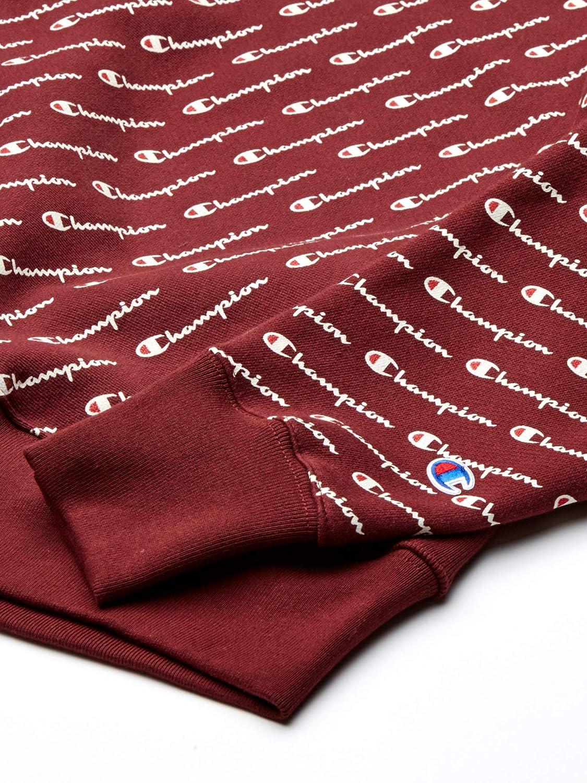 Champion Herren Reverse Weave Crew-Print Sweatshirt Diagonale Schrift, Kastanienbraun