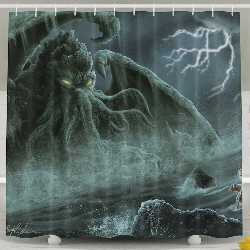 "Pictures Of Funny And Happy Cthulhu Monster Shower Curtain Design 60"" X 72"" 100% Polyester Shower Curtain"