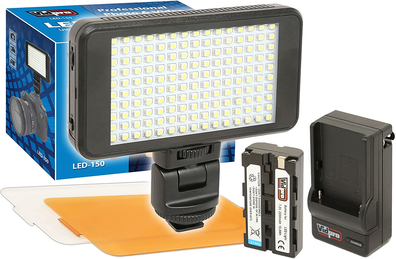 VidPro Ultra-Slim LED-150 On-Camera Video Lighting Kit