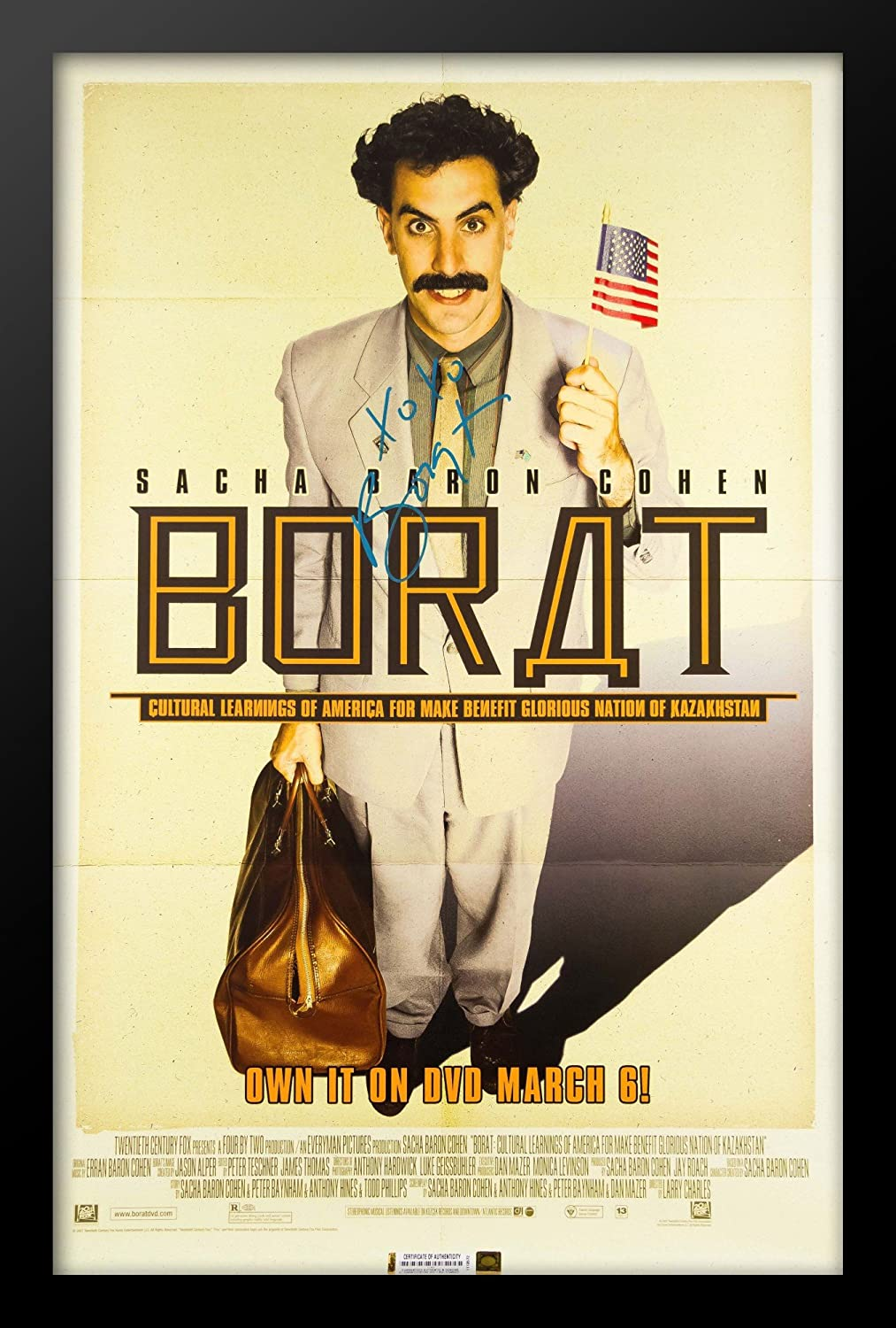 Borat Signed Movie Poster In Wood Frame With Coa Amazon Co Uk Kitchen Home