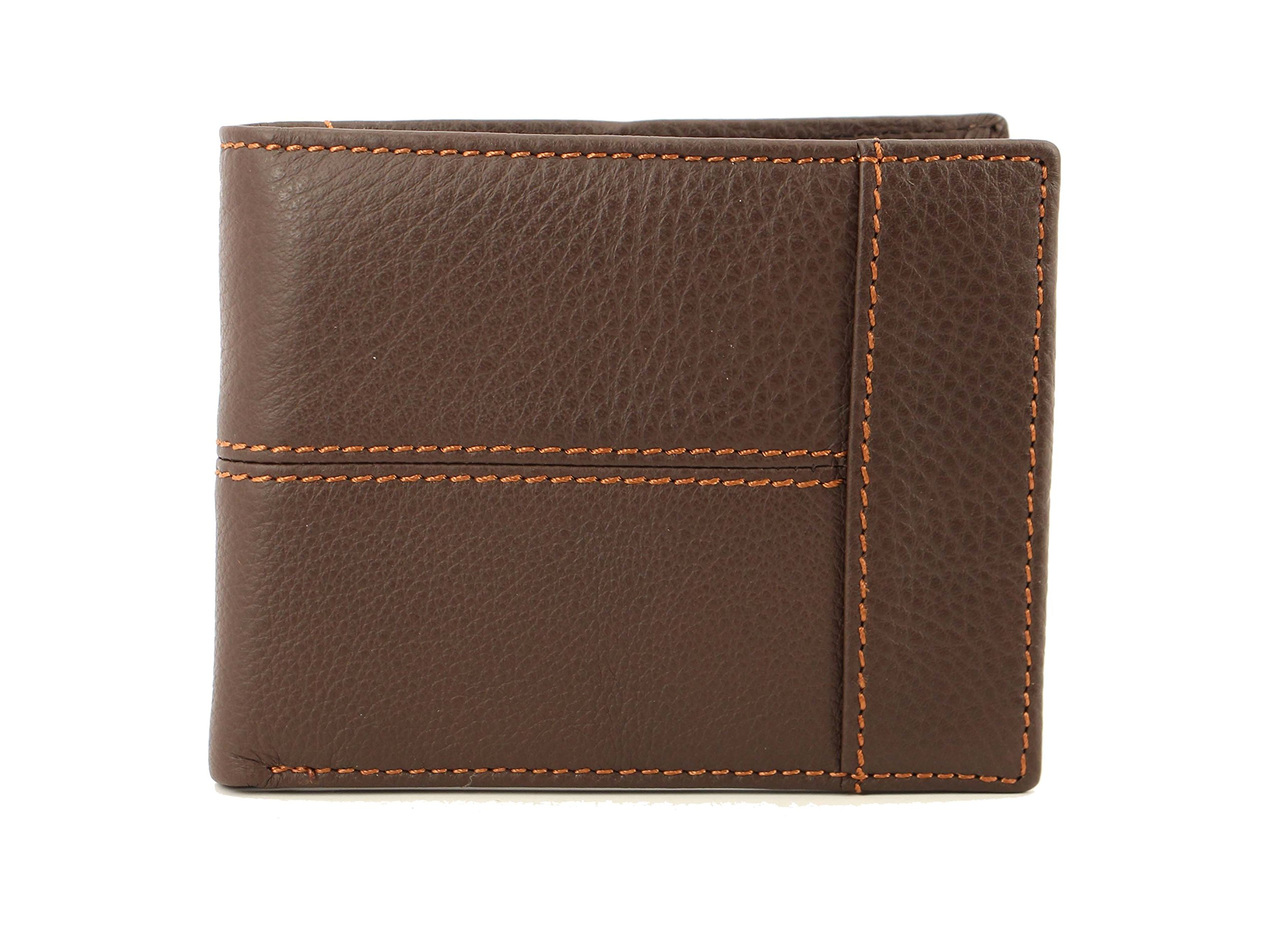 Cow Leather Fashion Men's Black Color Purse Wallet Billfold (Russet)