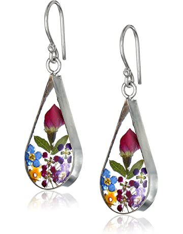 e4b3a3540f3c Sterling Silver Pressed Flower Teardrop Earrings