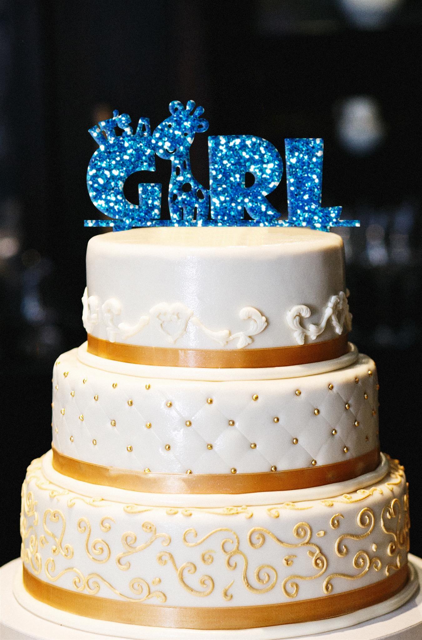 It's A Girl Cake Topper, Giraffe Cake Topper, Glitter Baby Shower Cake Topper, Glitter Gender Reveal Cake Topper, Glitter Baby Shower Decor (14'', Glitter Royal Blue)