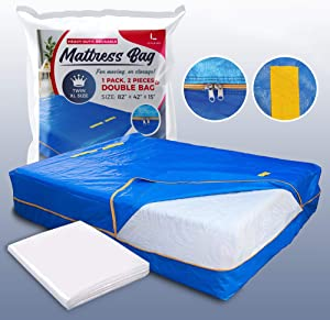 LEVARARK Mattress Bag for Moving and Storage | Twin XL Size Double Cover | Heavy Duty Tarp Plus 4 Mil Thick Plastic Protector | Sturdy Reusable Material Handles and Strong Zipper (Twin XL)