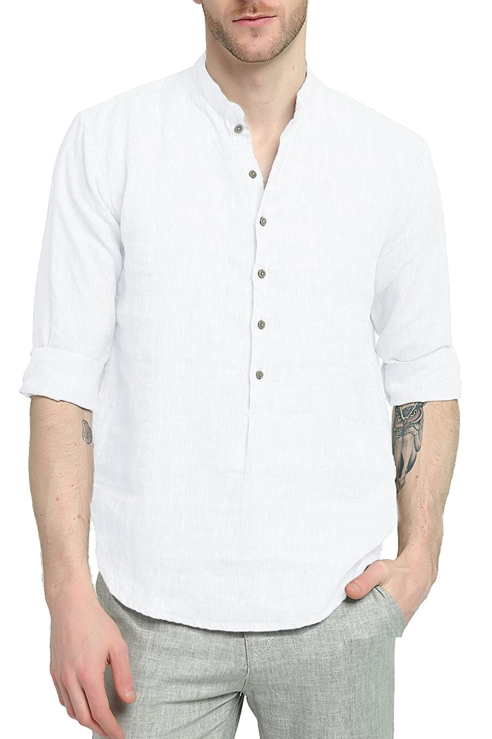 f7ef7370d0a32 Najia Symbol Men s 100% Linen Mandarin Collar Long Sleeve Popover Shirt  (White