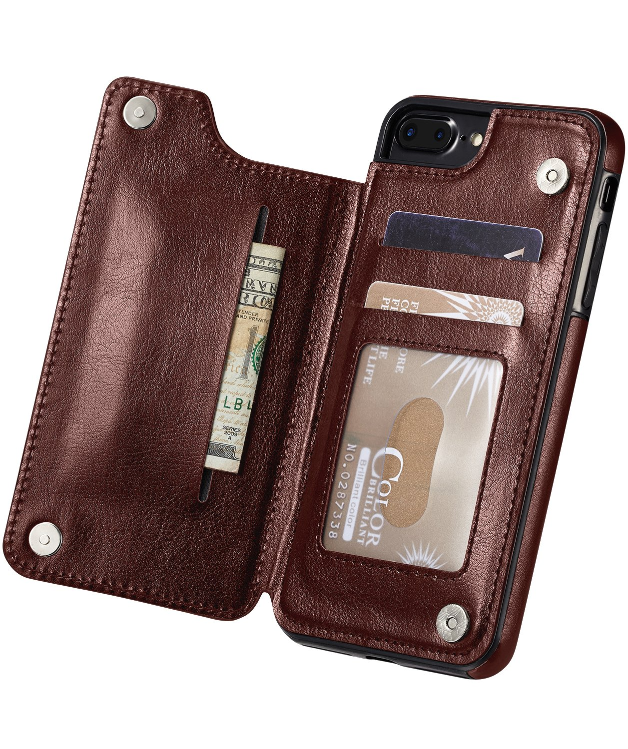 for iPhone 7 Plus Case, iPhone 8/8s Plus Case, Marval.P Slim Premium Leather iPhone Wallet Case Cover Pouch Card Slots Shockproof Folio Flip Protective Defender Shell Magnetic Clasp Kickstand Holder