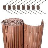 Songmics PVC Sichtschutzmatte für Garten Balkon Braun 90 x 500 cm GPF095B