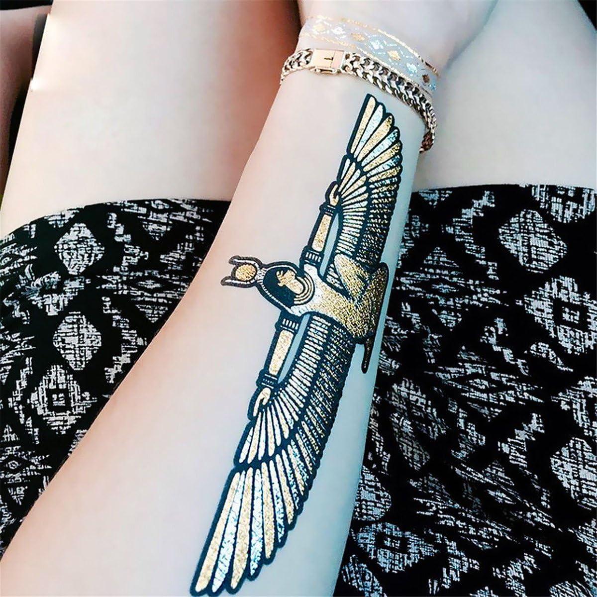 Cokohappy 5 Sheets Metallic Temporary Tattoo Egyptian Cleopatra Ankh Cross Eye Of Horus Gold Silver Shine Beach Armband Amazon Co Uk Beauty