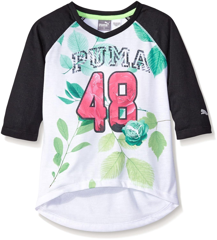 ef24b79dc5e Amazon.com: PUMA Little Girls' 48 Raglan V-Neck Tee, White, 5: Clothing