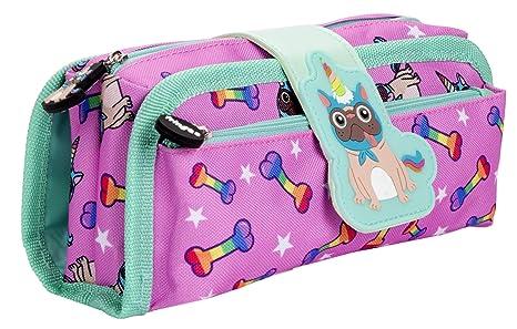 Fringoo Sillicone Patch Estuche para lápices para niños, 2 compartimentos con cremallera, bolsa de papelería grande y divertida para adolescentes, ...