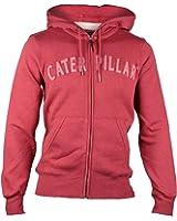 Caterpillar Mens Team Full Zipped Hooded Sweatshirt Hoodie Red
