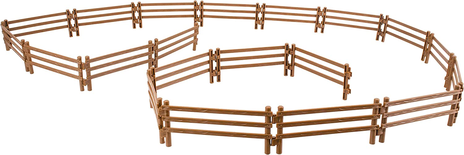 TOYMANY 20PCS Horse Corral Fencing Accessories Playset, Plastic Fence Toys for Farm Barn Paddock Horse Stable or Farm Animals Horses Figurines, Educational Gift Cake Toppers for Kids Toddler