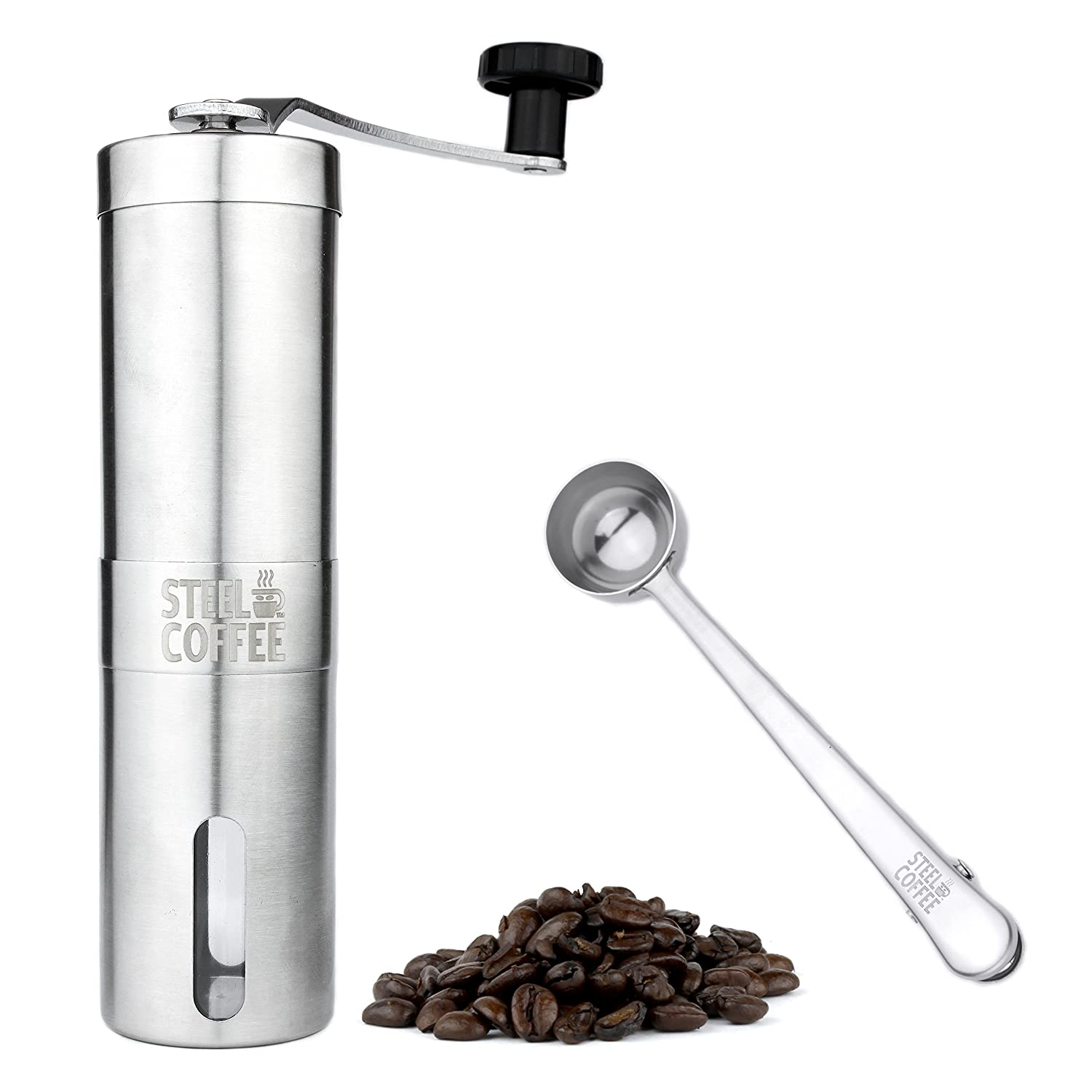Manual Conical Burr Coffee Grinder: Hand Held Stainless Steel Body and Adjustable Setting Ceramic Mill Grinders for Turkish Coffee, Fine Espresso, Drip, and Coarse French Press - Professional No Mess Steel Coffee SYNCHKG097990