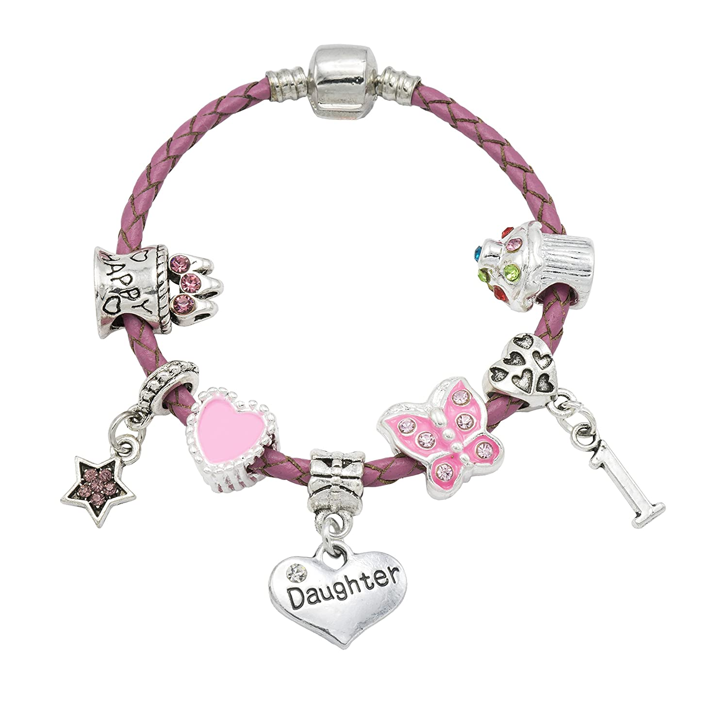 'Daughter' - Happy 1st Birthday Bracelet For Girls with Gift Box - Girls Jewellery Jewellery Hut BRDAUGHT1-15