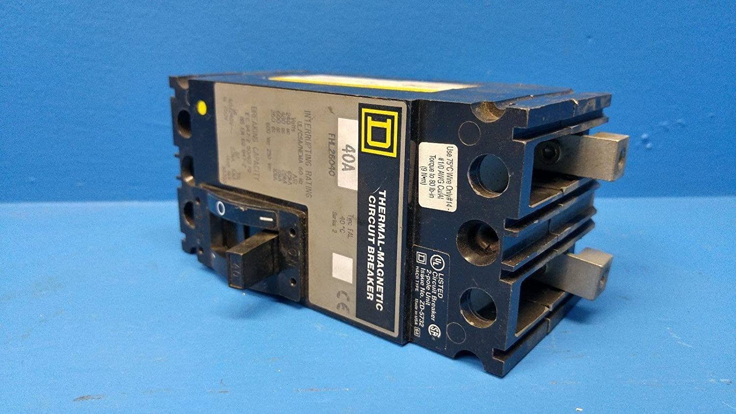 Square D Fhl26040 40a Thermal Magnetic Circuit Breaker Fhl 26040 Fal Breakers Some Use A S2 40 Amp Industrial Scientific