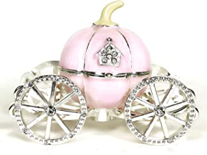 VI N VI Pink Hand-Painted Princess Cinderella Crystal Pumpkin Carriage Trinket Box, Jewelry Box | Hand Painted Collectible Figurine and Decorative Jewelry Display, Holder, and Organizer