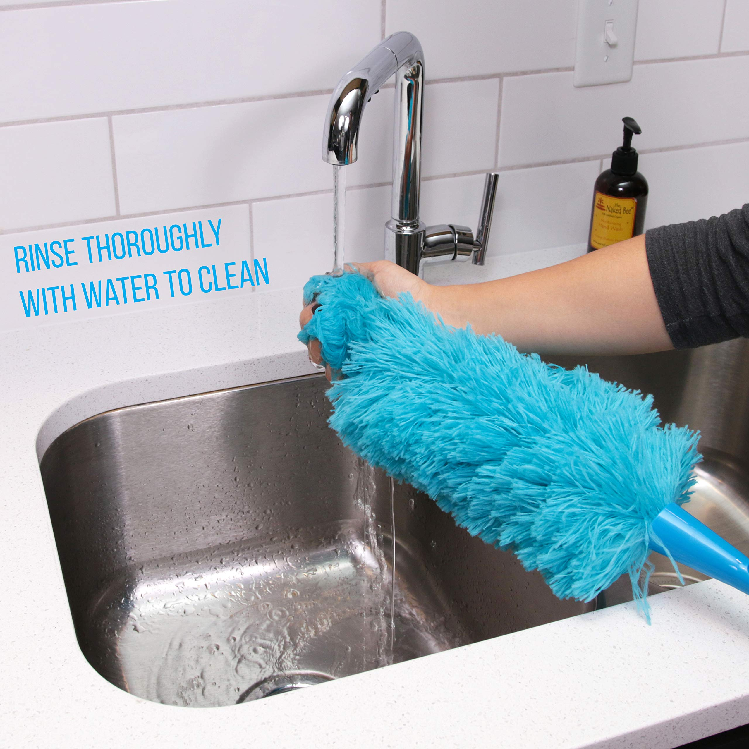 Hank HouseHold TriboDuster with Bonus Blinds Cleaner - Microfiber Duster for Cleaning with Extendable Telescoping Pole Up to 5ft6''! Ceiling Fan Dusters, Cobweb/Spider Web Brush and Blind Duster by Hank HouseHold (Image #5)