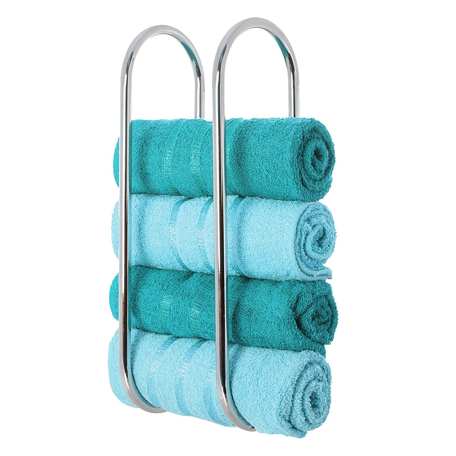 LIVIVO ® Chrome Plated Wall Mounted Oceana Bathroom Towel Rail Holder Storage Rack