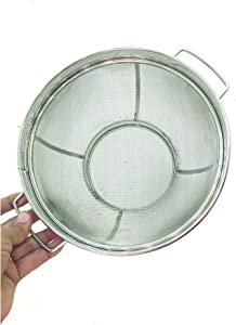 Stainless Steel Rice Strainer Colander Rice Washing Bowl Kitchen Strainer Drainer for Rice Vegetables and Fruit Stainless Steel Mesh Net Strainer Basket Food Strainer