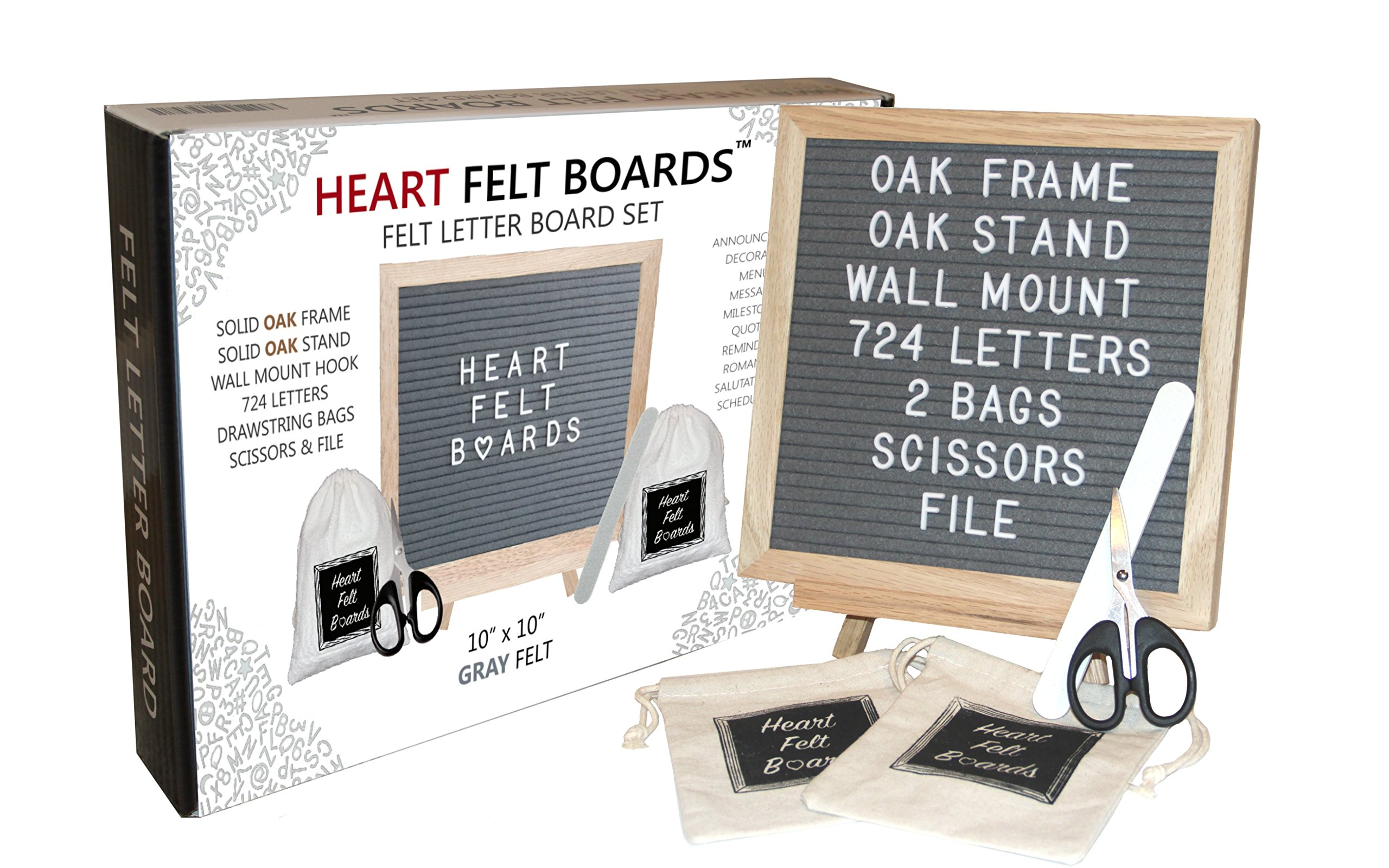 Felt Letter Board 10x10 - Oak Wood Frame Oak Tripod Stand - 724 White Letters - 2 Storage Bags Scissors File - Wall Mount Hanger - Emojis Symbols Numbers - Wood Changeable Message Display Sign (Gray)