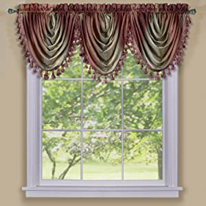 "Achim Home Furnishings Ombre Waterfall Window Curtain Valance, 46"" x 42"", Burgundy"