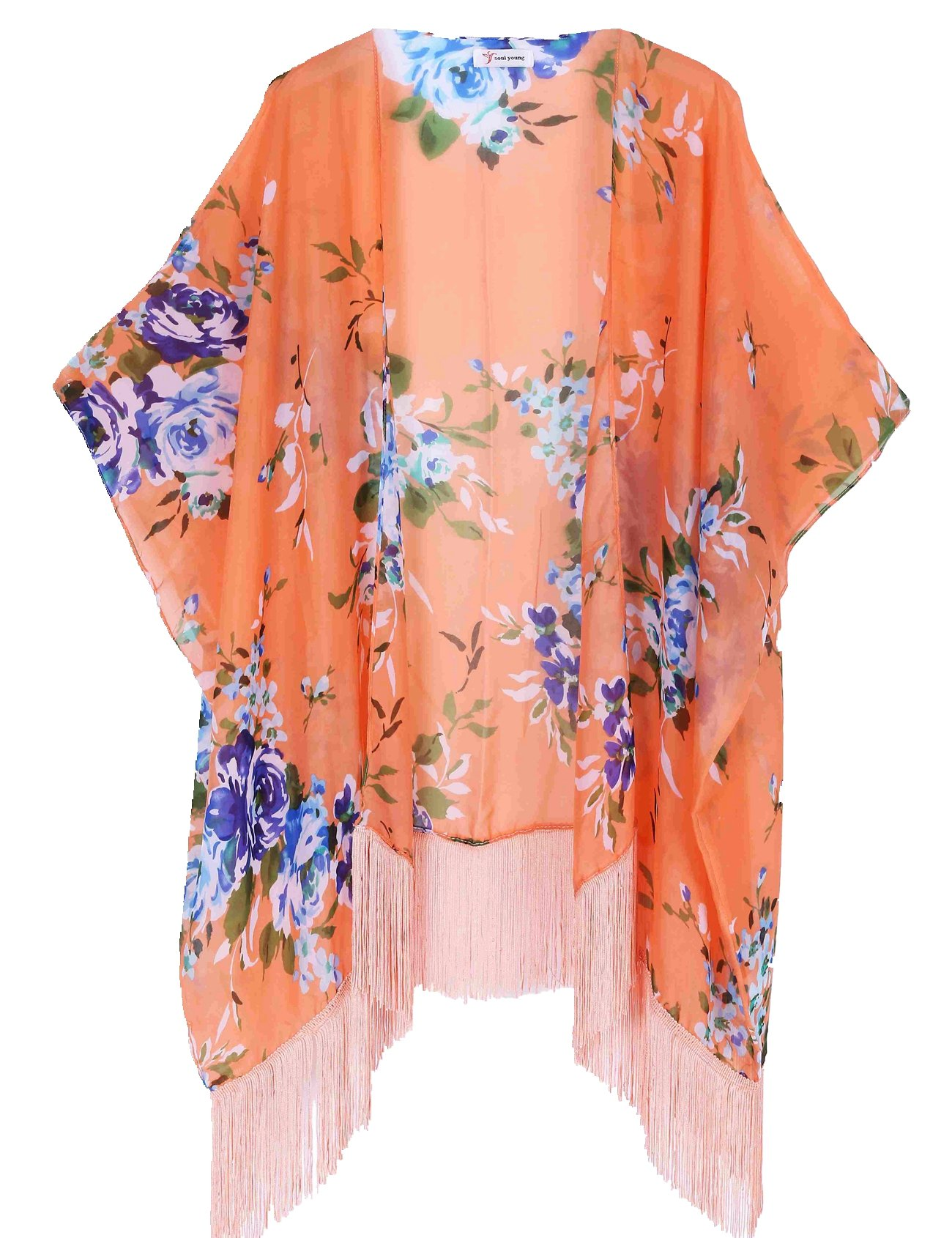 Women's Floral Kimono Cover Up - Lightweight Leopard Chiffon Beachwear for Bikini,Cardigan and Swimwear(One Size,Orange)