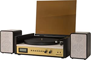 Crosley CR7017A-BK Coda 3-Speed Bluetooth Turntable and FM Radio Shelf System with Matching Stereo Speakers, Black