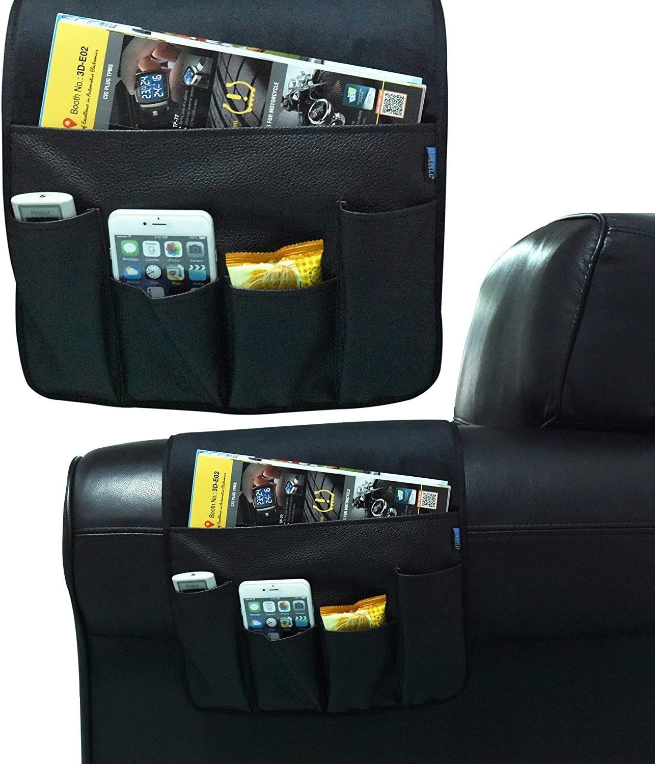 BASELIFE Space Saver Sofa Couch Chair Armrest Organizer,Magazine Rack, Draped over Sofa, Couch, Recliner Armrest for Remote Control, Cell Phone, Book, Pencil (BROWN) Black