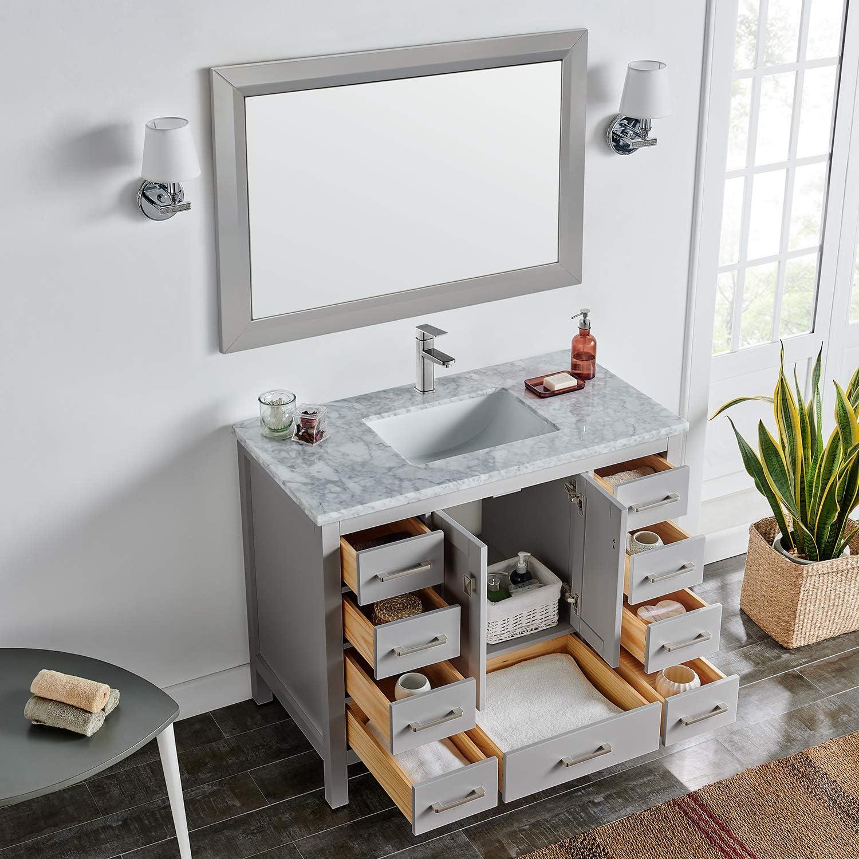 Eviva Hampton 36 X 18 Inch Gray Transitional Bathroom Vanity With White Carrara Countertop And Undermount Porcelain Sink Amazon Com
