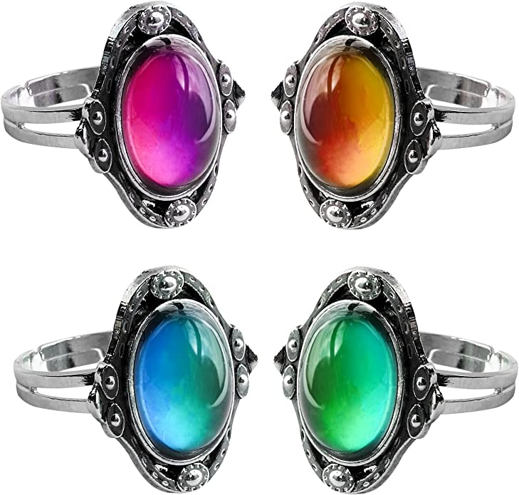Amazon.com: acchen Estado de ánimo anillos antiguo Gem ...